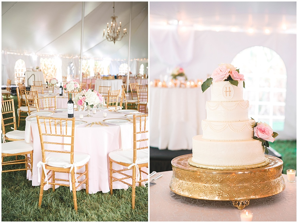 Blush and gold wedding details and elegant wedding cake | Family Farm wedding by SB Childs Photography & Jessica Dum Wedding Coordination