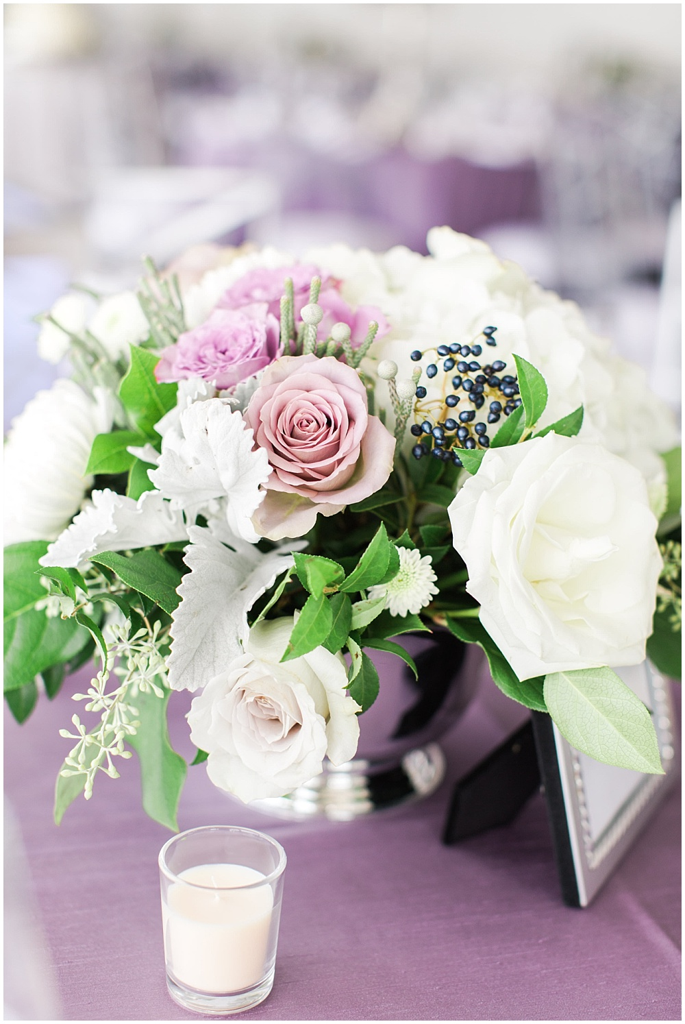 Purple, white and green floral centerpieces | D'Amore Wedding by Ivan & Louise Images & Jessica Dum Wedding Coordination