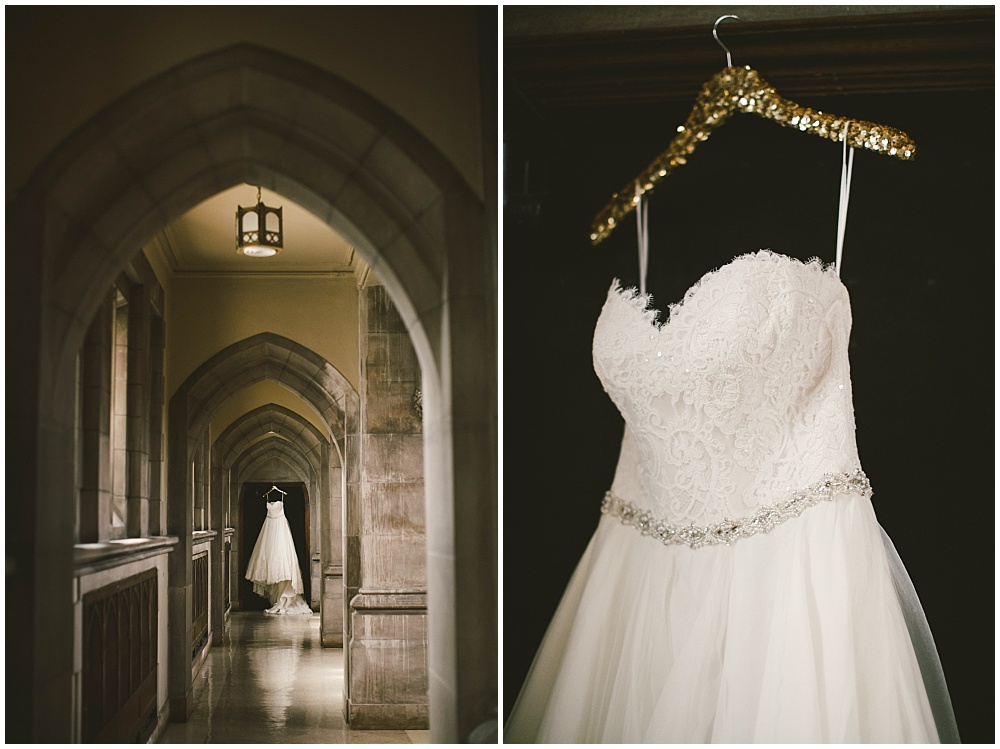 Elegant lace wedding gown with gold sequin hanger | Indianapolis Central Library Wedding by Jennifer Van Elk Photography & Jessica Dum Wedding Coordination