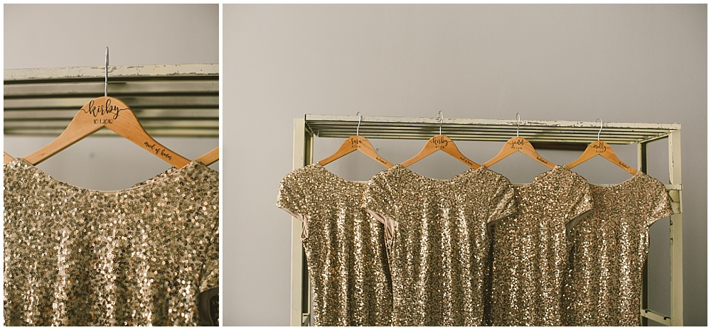 Gold sequin Rent The Runway bridesmaid dresses with engraved hangers | Indianapolis Central Library Wedding by Jennifer Van Elk Photography & Jessica Dum Wedding Coordination
