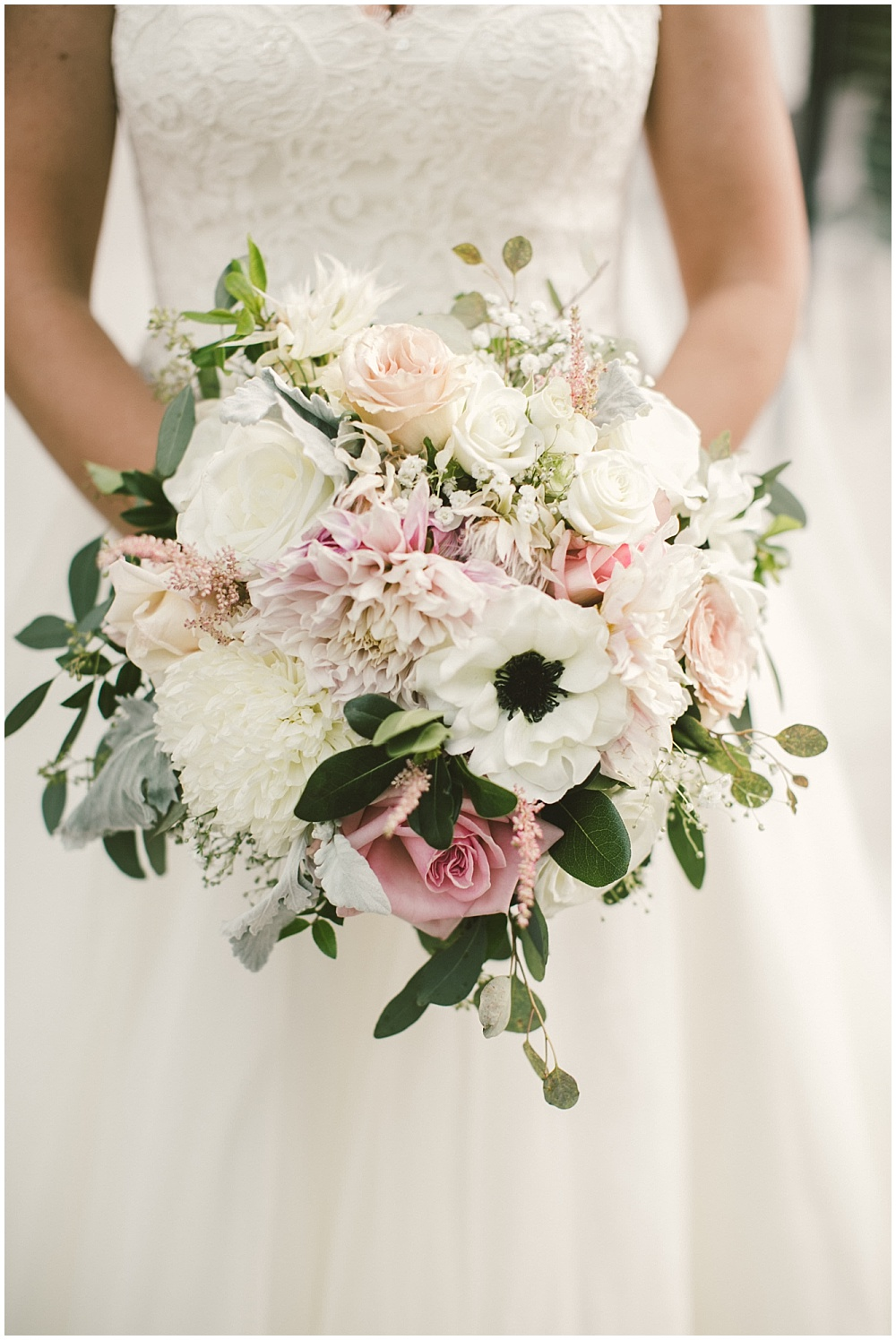 Blush, white and green bridal bouquet | Indianapolis Central Library Wedding by Jennifer Van Elk Photography & Jessica Dum Wedding Coordination