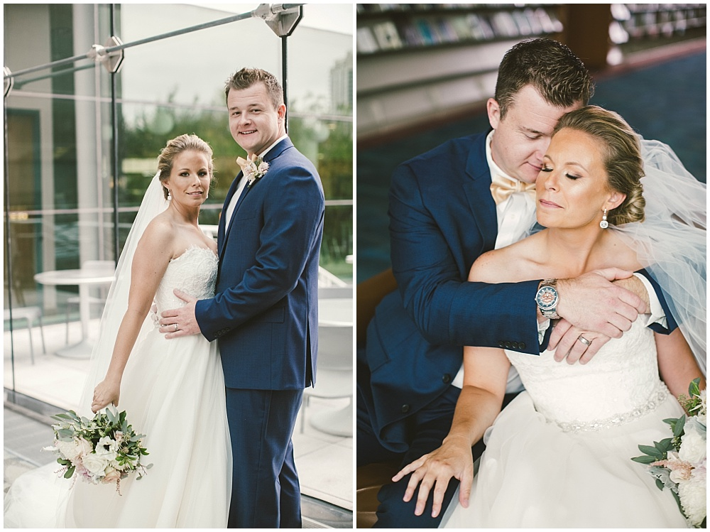 Bride and Groom library wedding portraits | Indianapolis Central Library Wedding by Jennifer Van Elk Photography & Jessica Dum Wedding Coordination