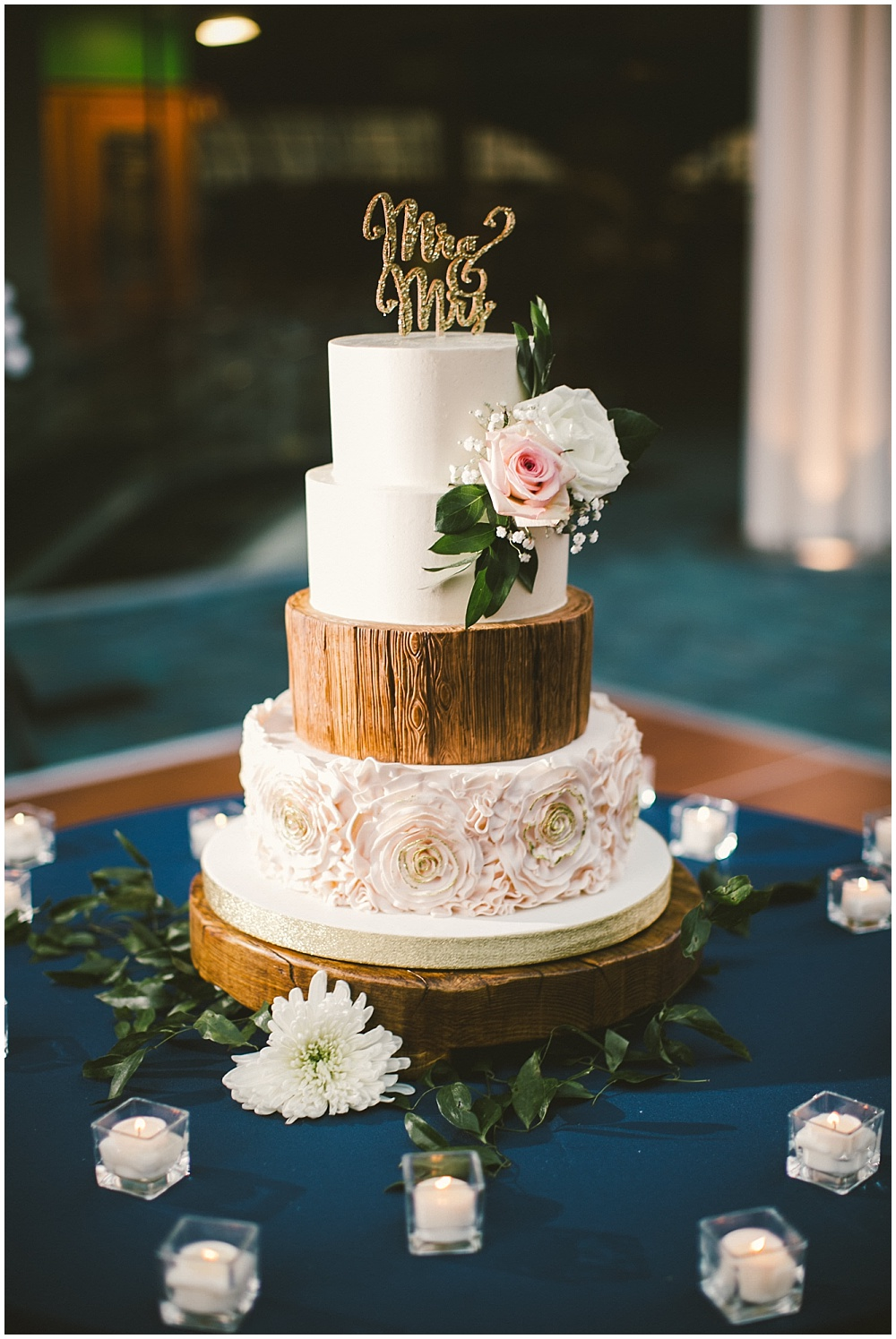 Blush, wood and gold wedding cake | Indianapolis Central Library Wedding by Jennifer Van Elk Photography & Jessica Dum Wedding Coordination