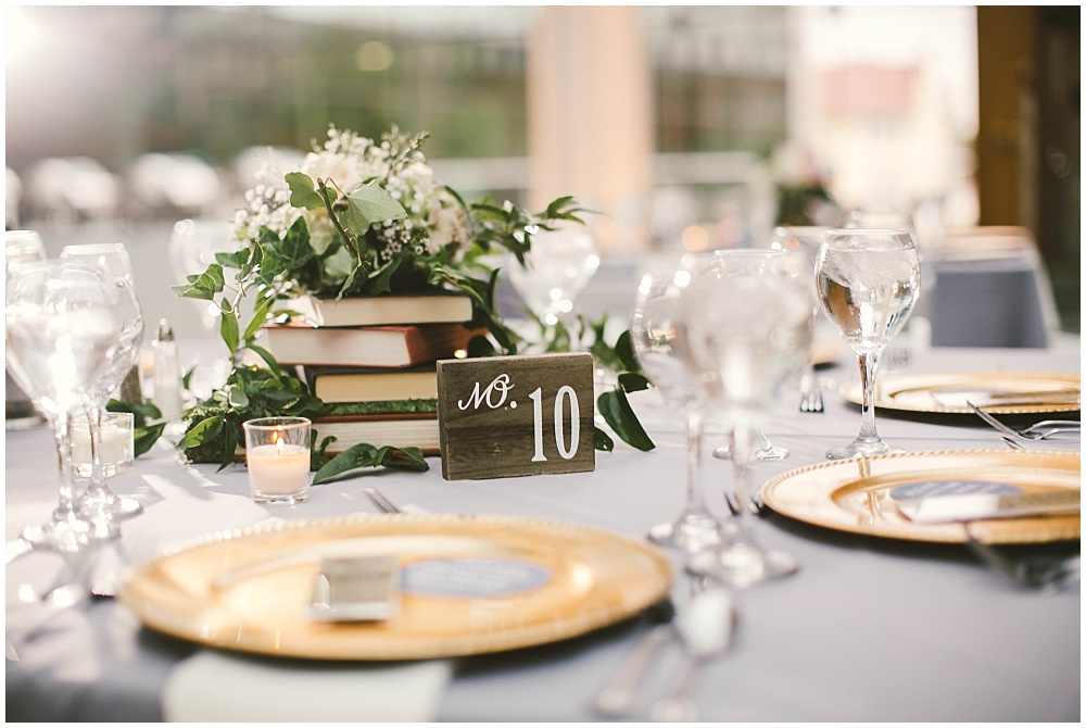 Library wedding with floral and book centerpieces | Indianapolis Central Library Wedding by Jennifer Van Elk Photography & Jessica Dum Wedding Coordination