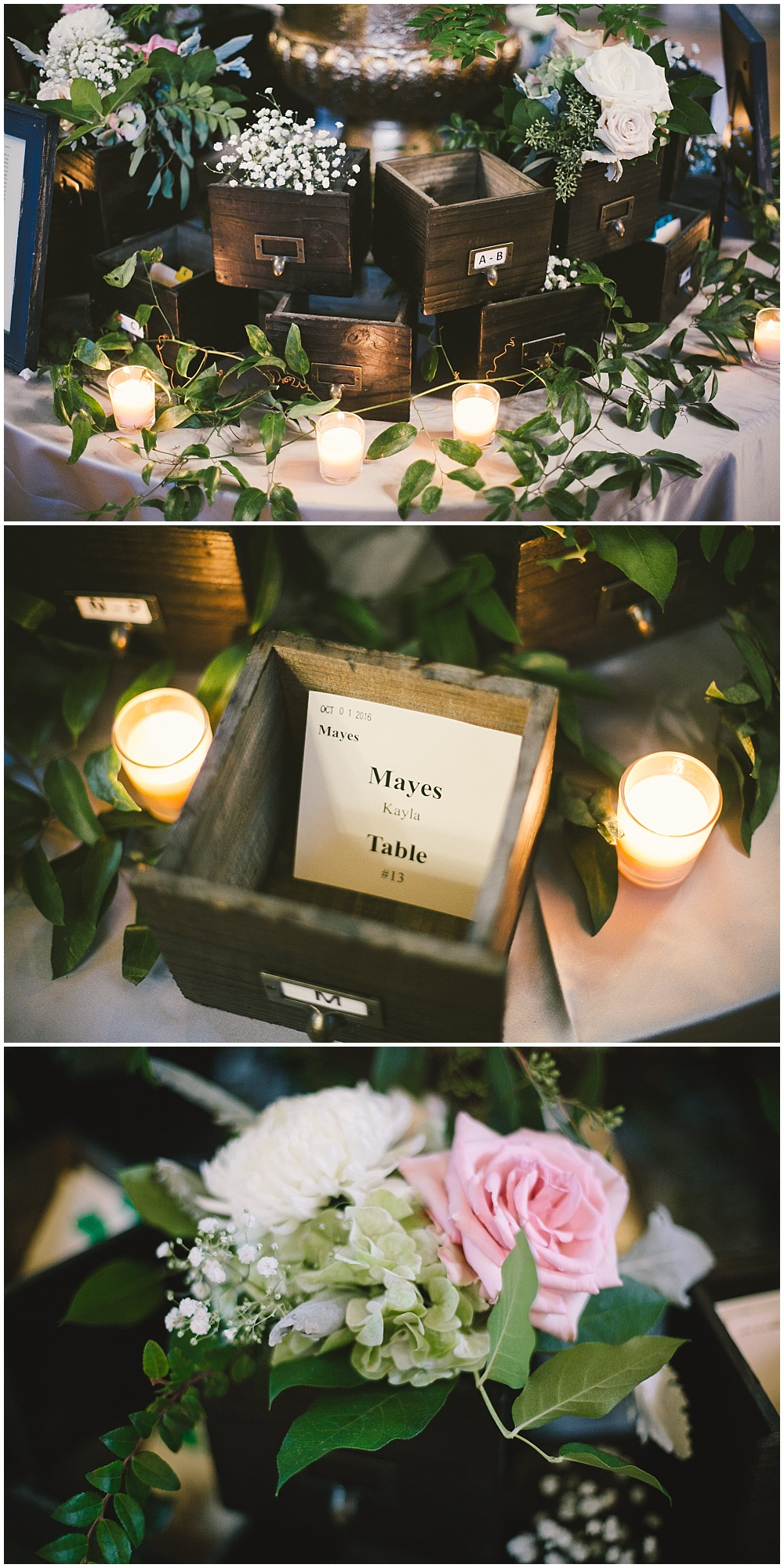 Library boxes with escort cards display | Indianapolis Central Library Wedding by Jennifer Van Elk Photography & Jessica Dum Wedding Coordination