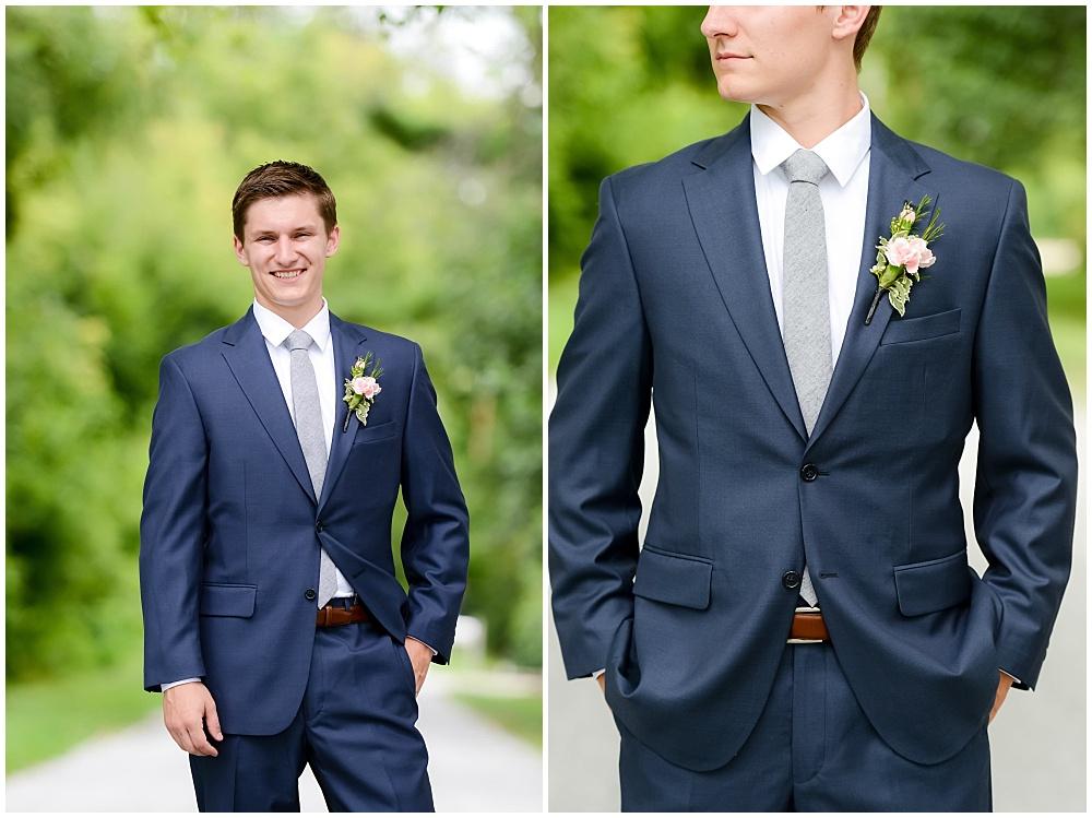 Navy suite, gray tie and blush boutonniere | Mustard Seed Gardens Wedding by Sara Ackermann Photography & Jessica Dum Wedding Coordination
