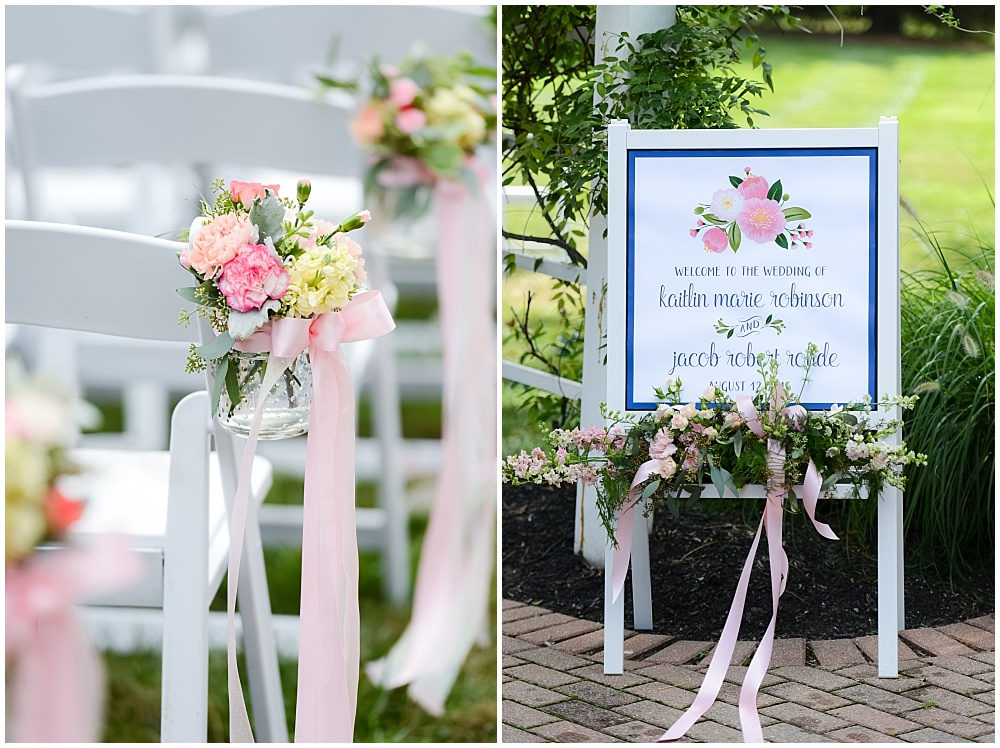 Blush, white and green ceremony floral accents | Mustard Seed Gardens Wedding by Sara Ackermann Photography & Jessica Dum Wedding Coordination
