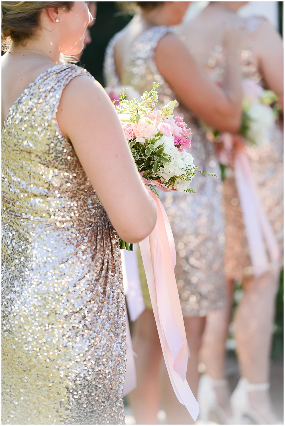 Gold glitter bridesmaid dresses with blush, white and green bridesmaid bouquets | Mustard Seed Gardens Wedding by Sara Ackermann Photography & Jessica Dum Wedding Coordination