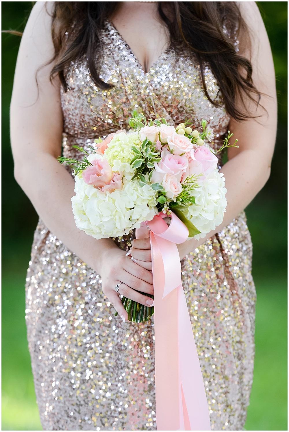 Gold glitter bridesmaid dress with blush, white and green bridesmaid bouquet | Mustard Seed Gardens Wedding by Sara Ackermann Photography & Jessica Dum Wedding Coordination