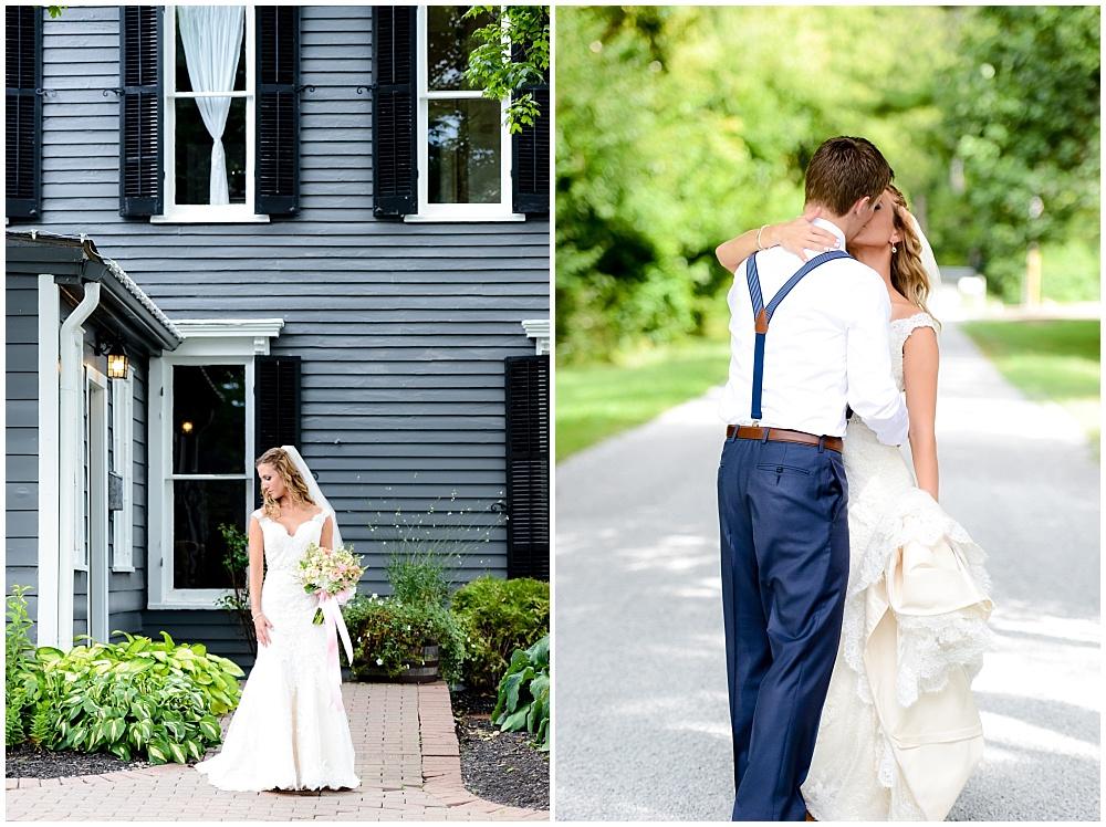 Lace wedding dress and groom's navy suspenders | Mustard Seed Gardens Wedding by Sara Ackermann Photography & Jessica Dum Wedding Coordination
