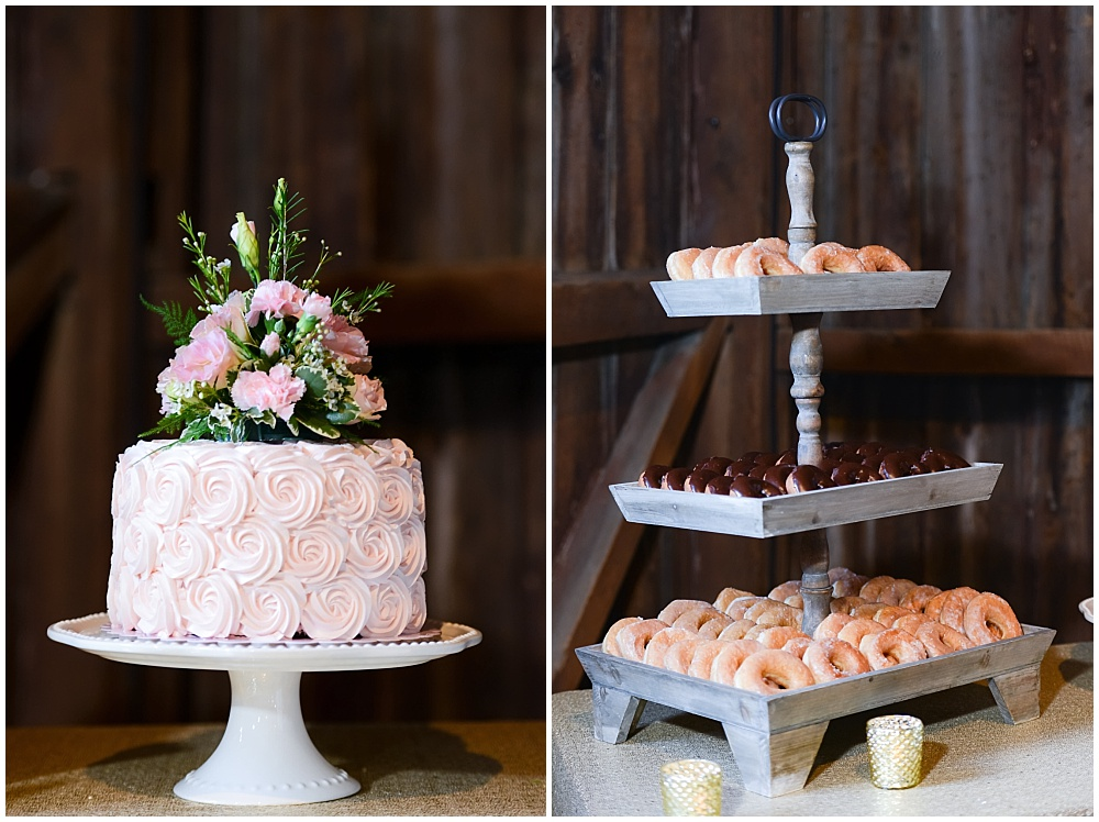 Blush wedding cake and donuts for dessert | Mustard Seed Gardens Wedding by Sara Ackermann Photography & Jessica Dum Wedding Coordination