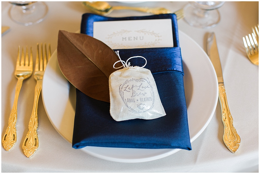 Navy + Gold place setting | Navy and Gold Wedding at Laurel Hall with Ivan & Louise Photography + Jessica Dum Wedding Coordination