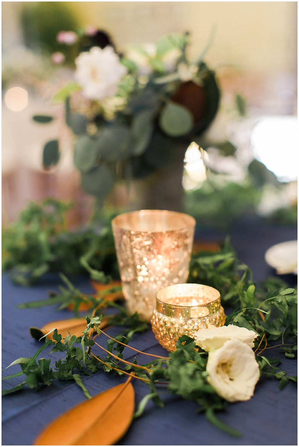 Navy + Gold centerpiece | Navy and Gold Wedding at Laurel Hall with Ivan & Louise Photography + Jessica Dum Wedding Coordination