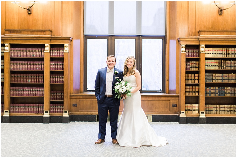 bride and groom library wedding portrait | Ivan & Louise Images and Jessica Dum Wedding Coordination
