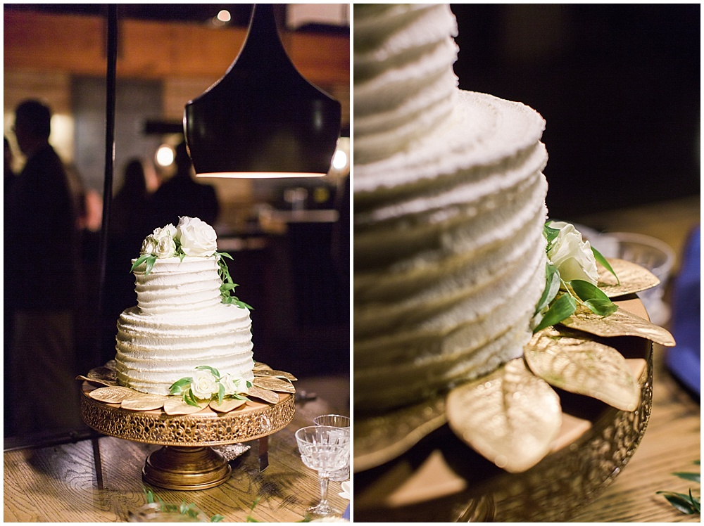 white and gold wedding cake | Ivan & Louise Images and Jessica Dum Wedding Coordination