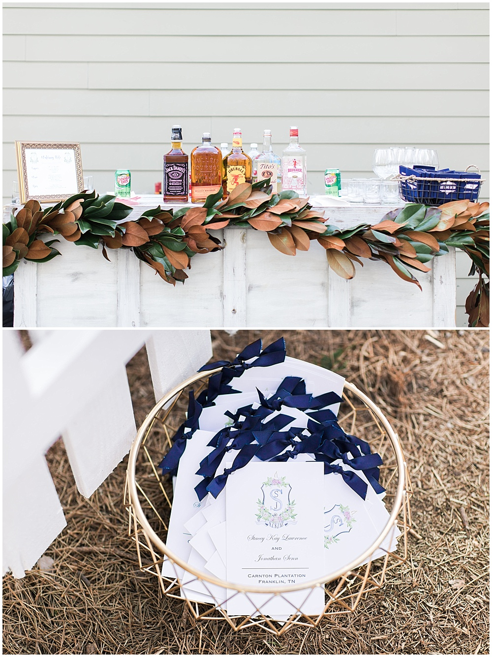 navy programs and magnolia leaf bar garland, navy and pink southern wedding | Ivan & Louise Images and Jessica Dum Wedding Coordination