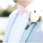 Blue striped suit with pink bowtie, navy and pink southern wedding | Ivan & Louise Images and Jessica Dum Wedding Coordination