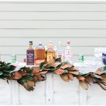 Magnolia leaf bar garland, navy and pink southern wedding | Ivan & Louise Images and Jessica Dum Wedding Coordination