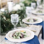 Farmhouse table with navy, gold and green tablescape, navy and pink southern wedding | Ivan & Louise Images and Jessica Dum Wedding Coordination