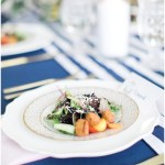 Plated salads with navy and gold tablescape, navy and pink southern wedding | Ivan & Louise Images and Jessica Dum Wedding Coordination
