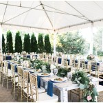 Farmhouse tables with draped greenery and plated salads, navy and pink southern wedding | Ivan & Louise Images and Jessica Dum Wedding Coordination