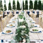 Farmhouse tables with draped greenery, navy and pink southern wedding | Ivan & Louise Images and Jessica Dum Wedding Coordination
