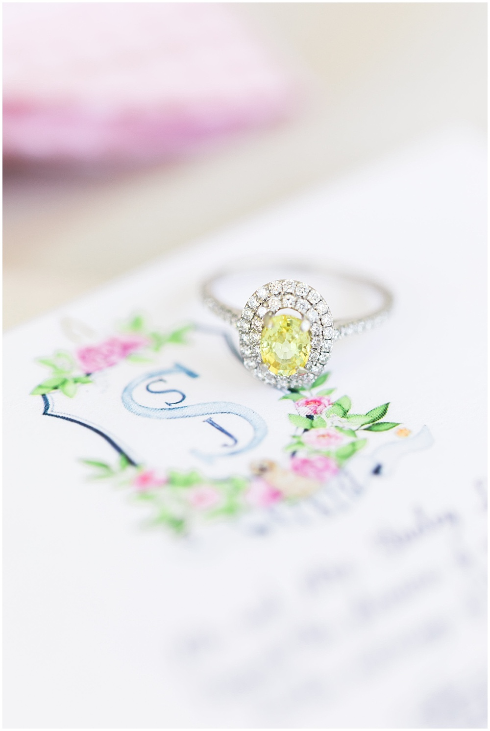 Custom wedding invitation with canary diamond ring, navy and pink southern wedding | Ivan & Louise Images and Jessica Dum Wedding Coordination