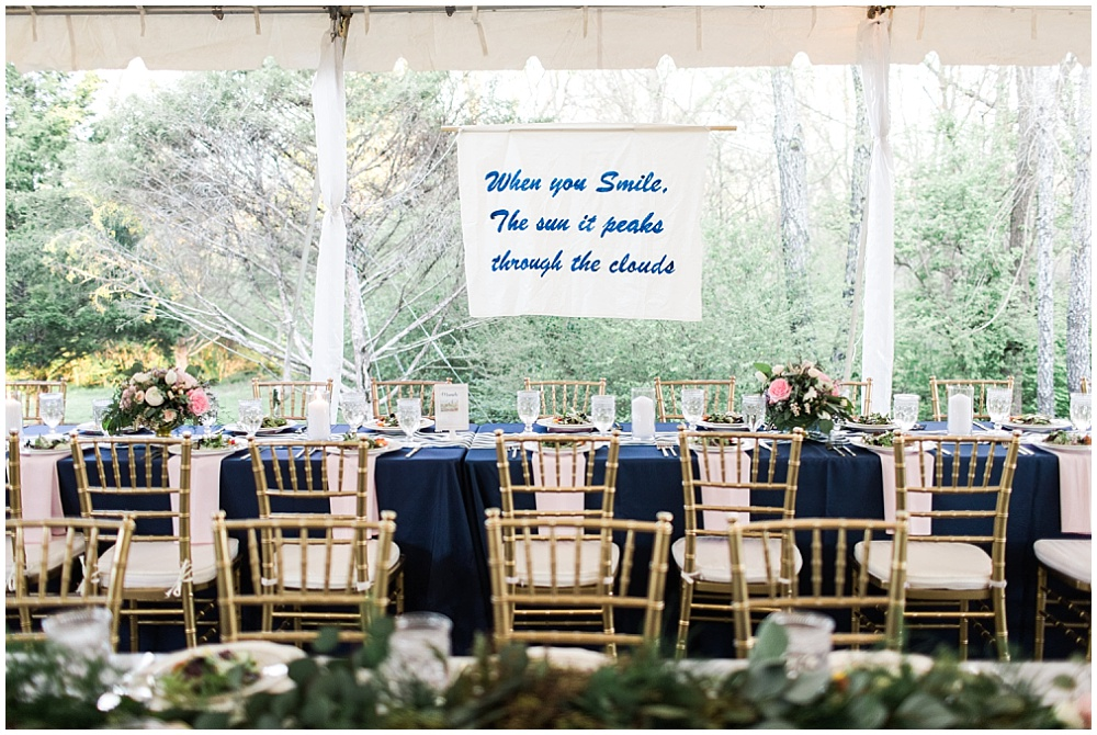 Navy and pink wedding with gold chiavari chairs, navy and pink southern wedding | Ivan & Louise Images and Jessica Dum Wedding Coordination