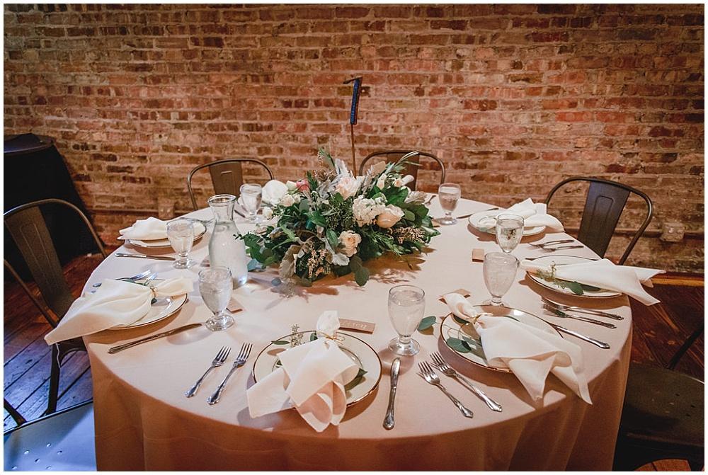 Blush & green tablescape | Chicago urban rustic wedding | Sandra Armenteros Photography + Jessica Dum Wedding Coordination