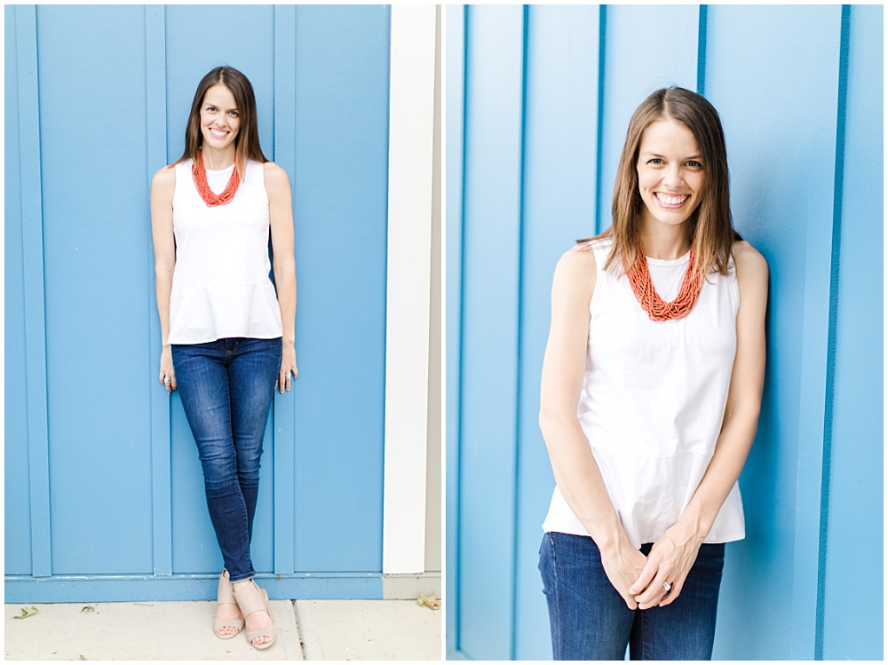 Lead Wedding Coordinator; Professional Wedding Coordinator Team Photos; Indianapolis Day of Wedding Coordinator; Jeans with white top and red necklace | Ivan & Louise Images