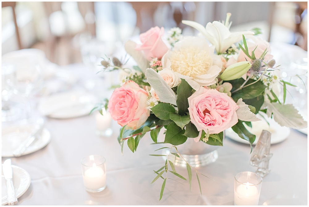 Blush and white wedding flowers on gray linens | Sami Renee Photography + Jessica Dum Wedding Coordination