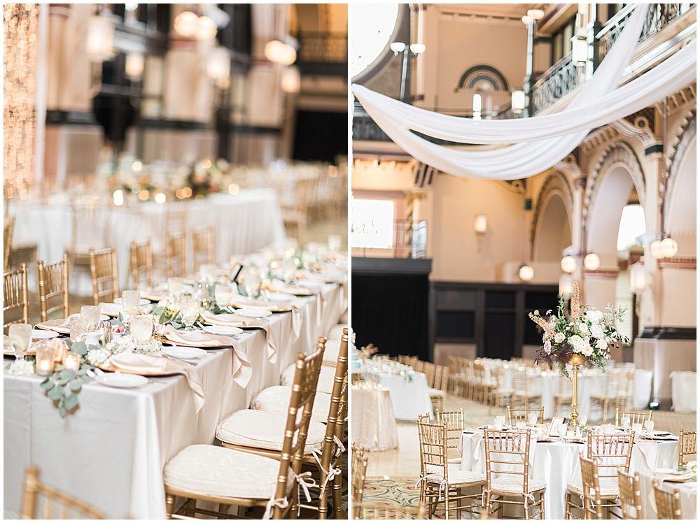 banquet table; gold tall centerpieces; Mexican inspired gold & floral wedding; Crowne Plaza Indianapolis Downtown Union Station; neutral floral and greenery wedding|Cory + Jackie and Jessica Dum Wedding Coordination