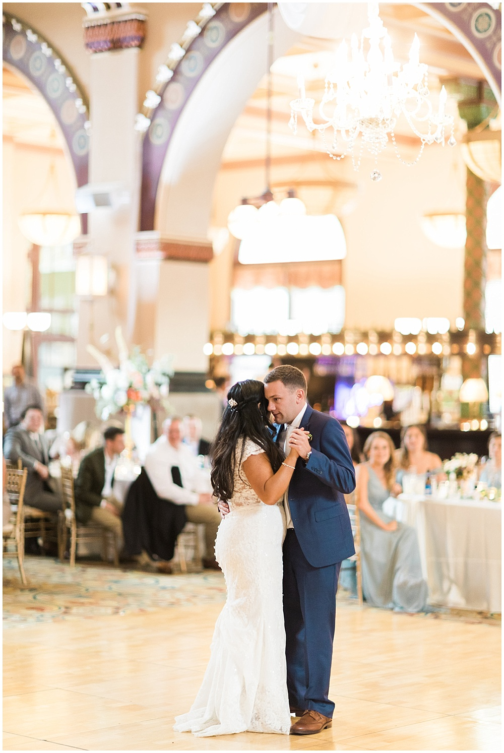 first dance; lace wedding gown; Mexican inspired gold & floral wedding; Crowne Plaza Indianapolis Downtown Union Station; neutral floral and greenery wedding|Cory + Jackie and Jessica Dum Wedding Coordination