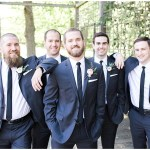 groomsmen with blush bouts; Spring floral + gold wedding | Ivan & Louise Images | Jessica Dum Wedding Coordination