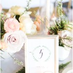hand lettered table numbers with greenery wreath; white and gold wedding; Spring floral + gold wedding | Ivan & Louise Images | Jessica Dum Wedding Coordination