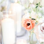 peach and purple wedding flowers; white on white wedding; candlelight; Spring floral + gold wedding | Ivan & Louise Images | Jessica Dum Wedding Coordination