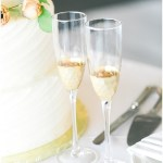 hand painted gold champagne flutes; Spring floral + gold wedding | Ivan & Louise Images | Jessica Dum Wedding Coordination