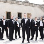 black groomsmen tuxes with bow ties; ivory bouts ; Scottish Rite Cathedral Indianapolis Wedding; neutral floral and greenery wedding| Ivan & Louise Images and Jessica Dum Wedding Coordination
