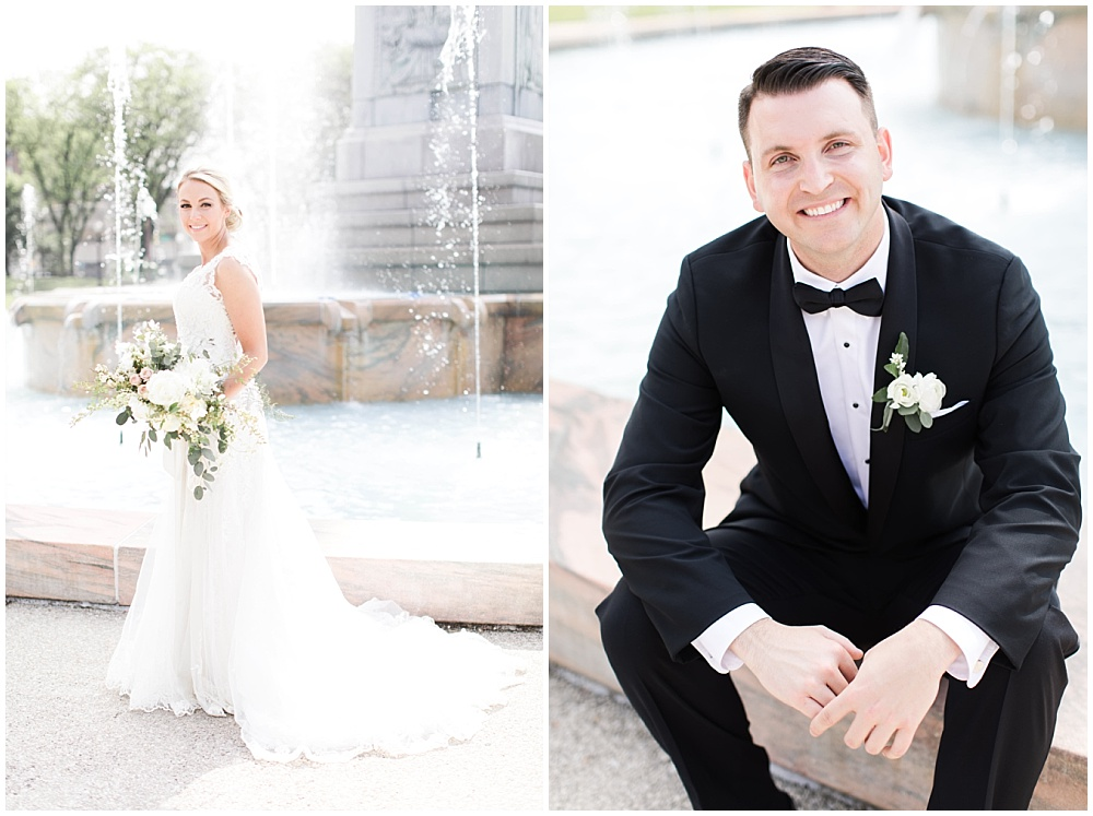 lace wedding dress; white and blush bridal bouquet with greenery; individual bride and groom portraits in front of a water fountain; Scottish Rite Cathedral Indianapolis Wedding; neutral floral and greenery wedding| Ivan & Louise Images and Jessica Dum Wedding Coordination