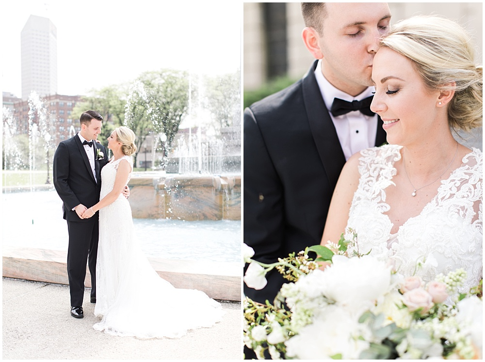 bride and groom portraits; lace wedding dress; white and blush bridal bouquet with greenery; Scottish Rite Cathedral Indianapolis Wedding; neutral floral and greenery wedding| Ivan & Louise Images and Jessica Dum Wedding Coordination