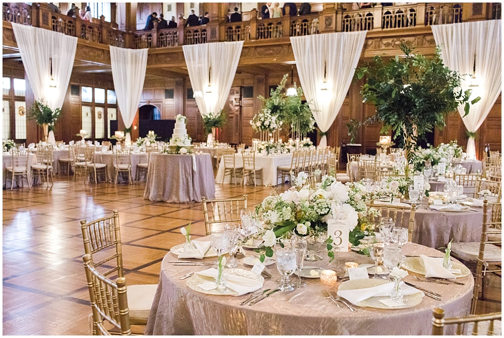 Gold crush linens; glass vanilla lace BBJ Linen chargers; ivory and gold tablescape with greenery; Scottish Rite Cathedral Indianapolis Wedding; neutral floral and greenery wedding| Ivan & Louise Images and Jessica Dum Wedding Coordination