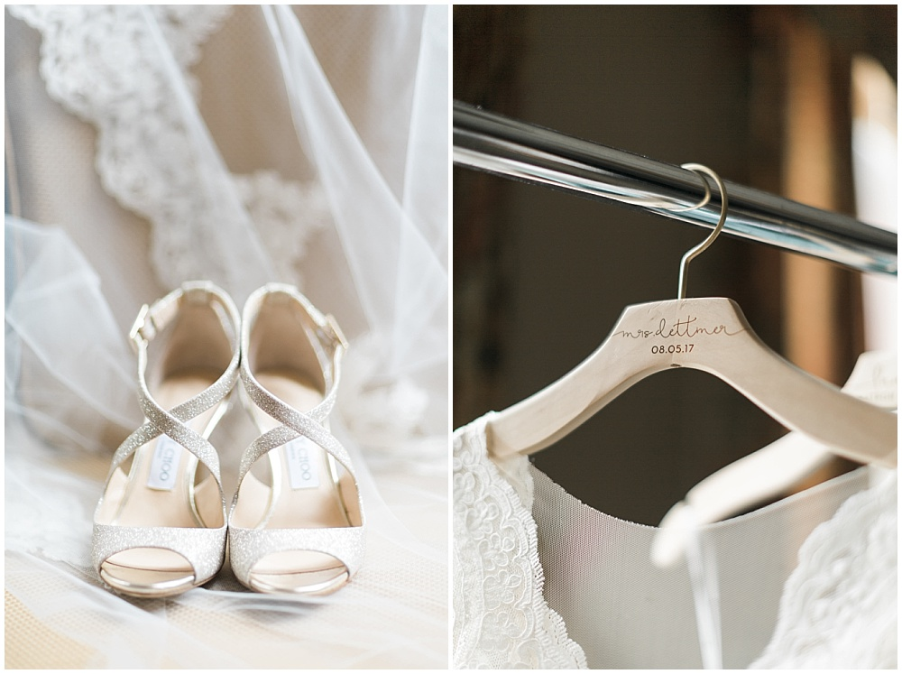 jimmy choo bridal shoe; white jimmy choo heels; wooden engraved hanger; engraved hanger; white lace wedding dress; Mexican inspired gold & floral wedding; Crowne Plaza Indianapolis Downtown Union Station; neutral floral and greenery wedding|Cory + Jackie and Jessica Dum Wedding Coordination
