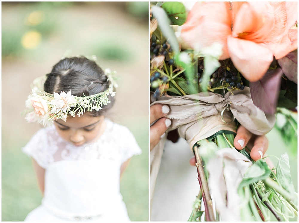 white lace flower girl dress; flower crown with greenery; hand dyed silk ribbon; neutral and organic-looking bridal bouquet; Mexican inspired gold & floral wedding; Crowne Plaza Indianapolis Downtown Union Station; neutral floral and greenery wedding|Cory + Jackie and Jessica Dum Wedding Coordination