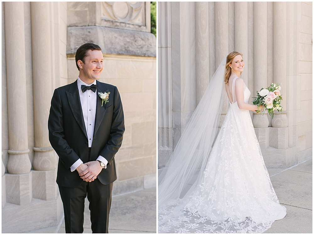bride and groom portrait; Navy + blush wedding; Scottish Rite Cathedral| Traci & Troy Photography and Jessica Dum Wedding Coordination