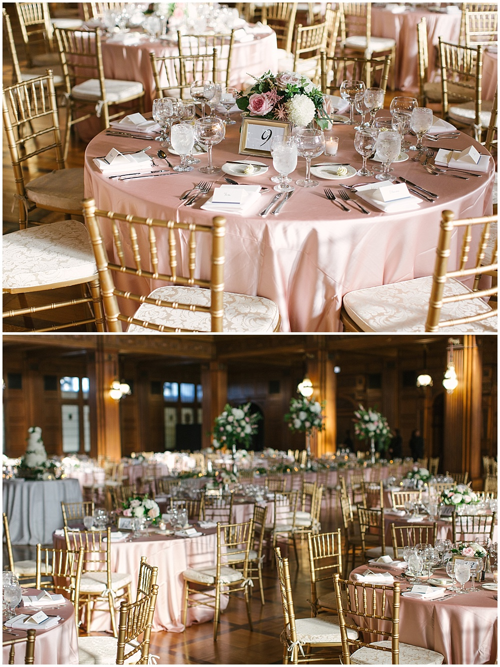 blush table linens; gold chiavari chairs; Navy + blush wedding; Scottish Rite Cathedral| Traci & Troy Photography and Jessica Dum Wedding Coordination