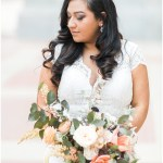 bridal portraits; kelly lenard flowers; bridal bouquet; white lace wedding dress; Mexican inspired gold & floral wedding; Crowne Plaza Indianapolis Downtown Union Station; neutral floral and greenery wedding|Cory + Jackie and Jessica Dum Wedding Coordination