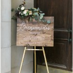 wood welcome sign; draped greenery; kelly lenard flowers; Mexican inspired gold & floral wedding; Crowne Plaza Indianapolis Downtown Union Station; neutral floral and greenery wedding|Cory + Jackie and Jessica Dum Wedding Coordination