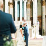 wedding ceremony; first kiss; Mexican inspired gold & floral wedding; Crowne Plaza Indianapolis Downtown Union Station; neutral floral and greenery wedding|Cory + Jackie and Jessica Dum Wedding Coordination