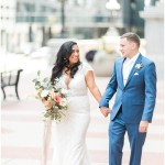 bride and groom portraits; kelly lenard flowers; bridal bouquet; blue groom's suit; Mexican inspired gold & floral wedding; Crowne Plaza Indianapolis Downtown Union Station; neutral floral and greenery wedding|Cory + Jackie and Jessica Dum Wedding Coordination
