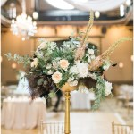 kelly lenard flowers; white draping with a crystal chandelier; Mexican inspired gold & floral wedding; Crowne Plaza Indianapolis Downtown Union Station; neutral floral and greenery wedding|Cory + Jackie and Jessica Dum Wedding Coordination